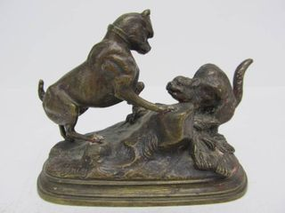 Original Antique 19th Century Bronze Fighting Dog & Cat Sculpture by Jules Moigniez