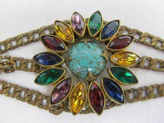 Nice Ornate Large Signed 1920's-30's Singer & Kantor Rhinestone & Turquoise Bracelet