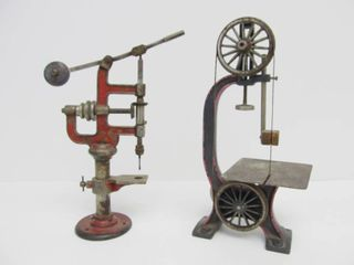 Large Antique German BING Cast Iron Steam Engine Toy Drill Press & Band Saw