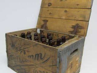 Antique THEO HAMM Brewing Company Wood Beer Crate w/Bottles