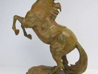 Excellent LARGE Rearing Stallion Metal Horse Sculpture by Maitland-Smith