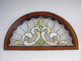 Large Vintage Genuine Stained Glass Half Round Window