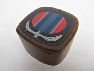 Signed Vintage 1978 ROBERT McKEOWN Inlaid Wood Trinket Box