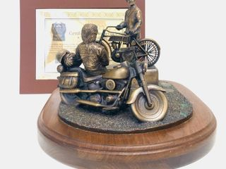 Rare 90th Anniversary HARLEY DAVIDSON Large Heavy Solid Bronze Motorcycle Sculpture - 85 of 90 - w/COA