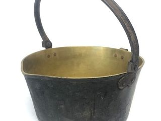Antique Heavy Solid Brass Jelly Pot / Candy Kettle