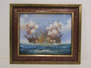 Original Sailing Ships Battling in High Seas Acrylic on Board