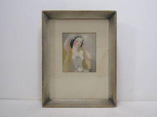 MARIE LAURENCIN Portrait Femme in Lingerie Signed