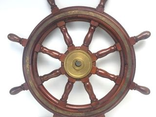 Old Vintage Wood & Solid Brass Authentic Ship's Wheel