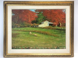 Framed Signed DEBORAH COTRONE Oil on Canvas Farm Scene w/Sheep
