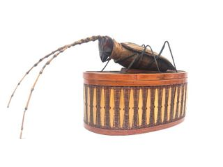 Vintage Woven Bamboo Oval Cricket Box