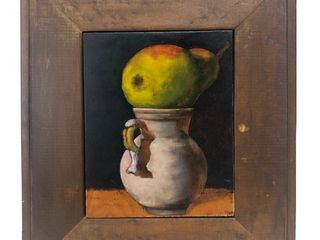 "Framed Signed MICHEL GALLAGHER Oil on Panel Still Life Painting - ""Pitcher & Pear"""