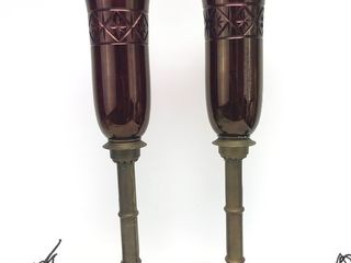 Pair of 1920's-30's Brass Table Lamps Cranberry/Purple Glass Shapes