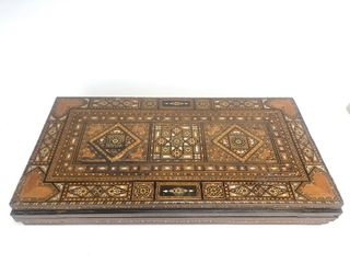 Massive Ornate Hand Inlaid Vintage Syrian Mosaic Folding Game Table Chest