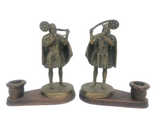 Wonderful Pair of Scandinavian Figural Bronze Viking Candle Holders by Edward Aagaard