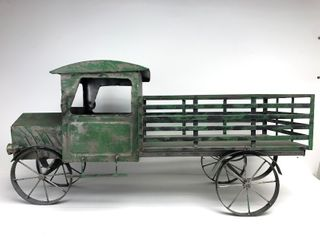 Large Antique Style Metal Pickup Truck Garden Statue or Planter Box