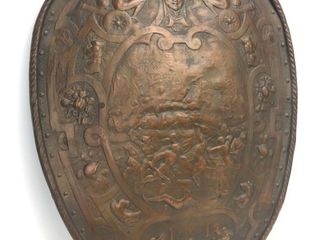 Monumental 1920's Signed ARMOR BRONZE Shield Form Wall Plaque