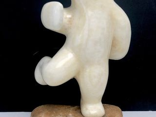 LARGE Signed Carved White Marble Stone Dancing Polar Bear Inuit Sculpture