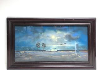 Signed Antique 1920 Shore Line Lighthouse Nautical Painting w/Steamship on Horizon