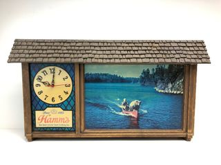 Working HAMM'S Advertising Chalet Lighted Clock Sign w/Grizzly in Canoe