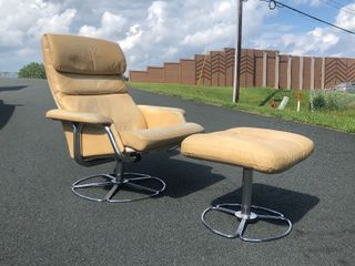 Vintage Mid Century BRUNO MATHSSON For DUX Chrome & Leather Lounge Chair w/Ottoman