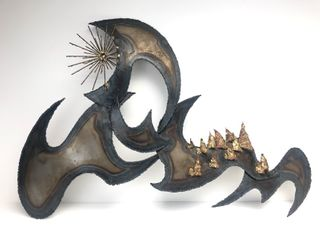 Large Mid Century 1960's Dramatic Torch Cut Brutalist Brass & Mixed Metal Wall Sculpture