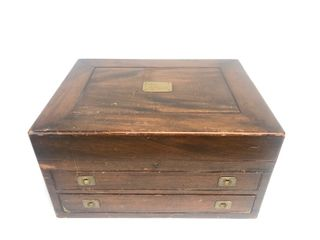 Large Antique WELD & SONS Minneapolis Wood & Brass Jewelry/Silver Chest