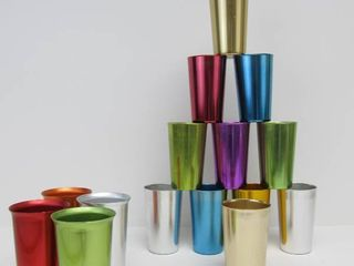 Lot of Multi-Color Aluminum BASCAL Mid Century Italian Aluminum Tumblers