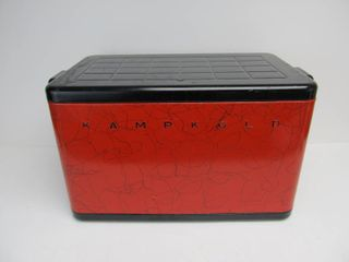 Mid Century 1950's KAMPKOLD Metal Cooler - Red & Black
