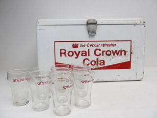 Vintage ROYAL CROWN Cola Embossed Metal Cooler w/ 1950's Soda Glasses