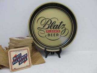 Excellent Old Vintage BLATZ Beer Tray w/ NOS Blatz Coasters