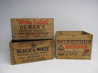 Vintage 1930's Era Scotch Whiskey & Drambuie Advertising Crates