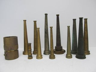 Nice Collection of Old Brass Vintage Fire Hose etc Nozzles