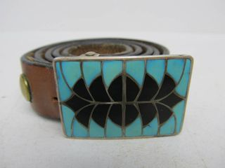 Signed Vintage Zuni Sterling Silver & Inlaid Mosaic Turquoise Zuni Belt Buckle & Belt by Ed & Pablita Quam