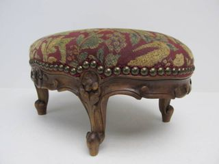 Nice Antique Carved Victorian Footstool w/Dog & Deer Upholstery