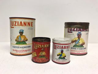 Lot of 4 Original 1930's LUZIANNE Coffee Cans