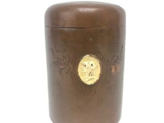 Antique Signed BENEDICT Bronze Tobacco Humidor Jar