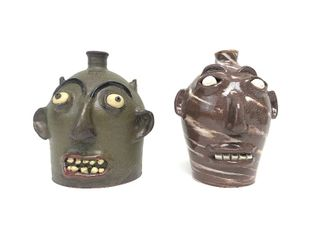 2 Signed South Carolina Folk Art MARVIN BAILEY Face Jugs