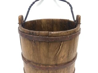 Orig Antique 18th Century Wooden Water Bucket