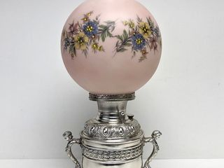 Beautiful Antique 1890's Ornate Oil Lamp w/Pink Floral Globe Shade