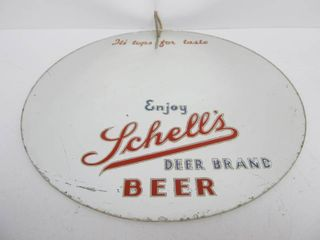 "Vintage 1930's SCHELL'S Beer ""Deer Brand"" reverse Painted Advertising Bar Mirror"