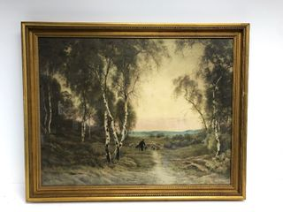 Framed Antique 1902 French Pastoral Scene Lithograph by Albert Charles Wallet