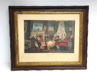 "Antique ""Four Seasons of Life"" Framed Litho Currier & Ives Print"
