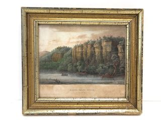 "Early Antique 19th Century Small Framed Mississippi River Lithograph - ""Bluffs Below Saint Paul"""