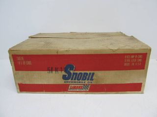 Full Case of NOS Unused SNOBIL Snowmobile Motorcycle Oil Cans