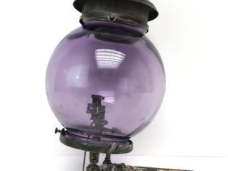 Antique COLT Railroad Caboose Wall Sconce Gas Lamp w/Purple Glass Globe