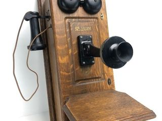 Nice Antique WESTERN ELECTRIC Hand Crank Oak Wall Telephone