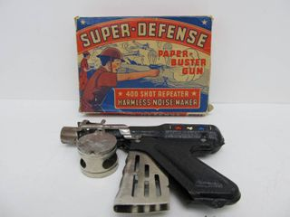 Old Vintage Langson SUPER-DEFENSE Paper Blaster Toy Gun w/Original Box