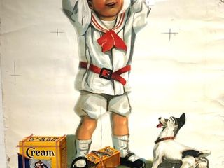 "Early 1900's ""Cream of Rye"" Cereal Advertising Poster from The Pioneer Company in Saint Paul (As Is)"