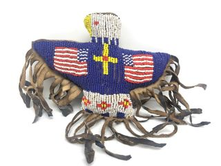 Vintage Native American Patriotic Beaded American Flag Eagle Fetish