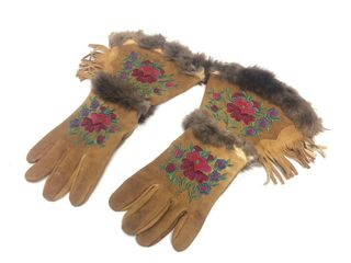 Vintage 1930's Era Native American Beaded Leather Gauntlets